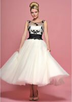 New Tea Length Black Lace White/Ivory Tulle party Prom Bridal Gown Wedding Dress