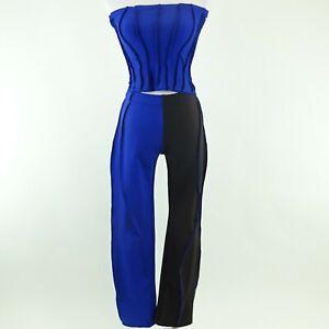 Kim Kardashian West KERNE.MILK Black/Blue Stretch Outfit Shirt & Pants No Size