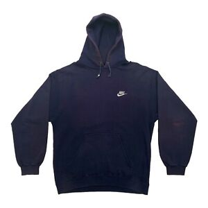 Nike Embroidered Logo Hoodie | Vintage 90s Retro Sports Hoody Navy Medium VTG