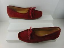 Clarks Originals Red Suede Loafers Slip On Shoes Sz 10 M!!!