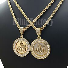 "Hip Hop Fashion Lab Diamonds Muslim Allah Pendant & 4mm 24"" Rope Chain Necklace"