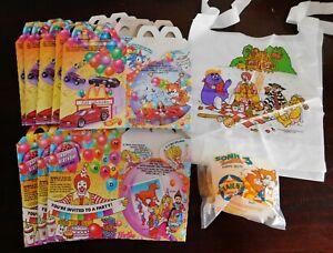 Vintage NOS McDonald's Happy Meal Box/Toy/Bib Lot. Sonic, Hot Wheels, Barbie.