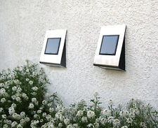 2 x Stainless Steel Wall Mounted Solar Powered Lights