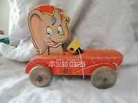 Vintage Fisher Price Dumbo Circus Wooden Toy Disney #738 1940s