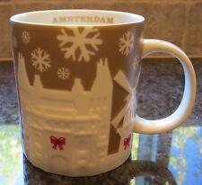 NWT Starbucks AMSTERDAM Gold Relief 2014 Christmas Holiday City Mug with SKU