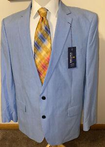NEW Stafford 100% Cotton Navy White Pincord Striped Blazer Sport Coat Jacket 48R