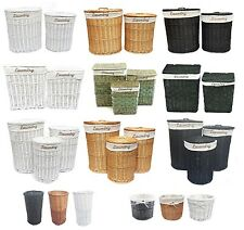 White Black Brown Wicker Round Oval Rectangle Laundry Basket Bathroom Storage