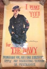 1984 Howard Chandler Christy I Want You for US Navy Recruiting Poster WWI New