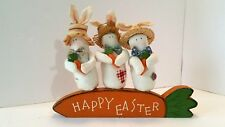 Happy Easter Bunnies Standing on Wood Carrot Plaque Rabbits Wearing Hats