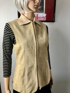 Vintage 70s Beige Suede VEST 10-12 Ribbed Knit Back Collar pockets waistcoat