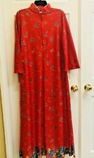 Vintage Sears At Home Wear Red Floral Robe House Coat Small 10/12