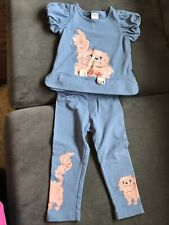 Polarn O. Pyret Baby Girl Cat Top and Leggings Set EUC - Size 18-24 Months
