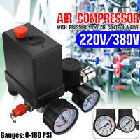220V Air Compressor Pressure Switch Control Valve Regulator Gauges Safety