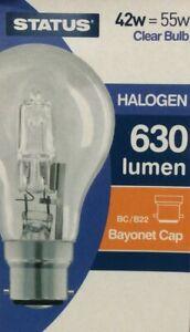 Pack of 3 x 42w = 55w ( 60w Replacement ) GLS B22 Bayonet Warm White Light Bulbs