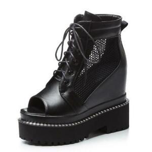 Gladiator Women Summer Open Toe Hidden Wedge Heel Lace Ups Ankle Boots 34/40 L