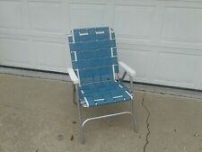 Vintage Sunbeam Aluminum Folding Blue White Webbing Lawn Patio Chair Retro