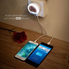 Sensor 2 USB Wall Charger LED Light Auto Induction Control Night Light Lamp