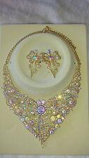 AB Diamante Cristal Collar y Pendientes Set Boda Graduación Nuevo Conjunto D