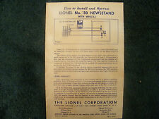 LIONEL # 118 NEWSSTAND with WHISTLE INSTRUCTIONS PHOTOCOPY