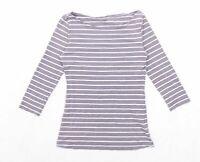 H&M Womens Size S Striped Cotton Blend Grey Top (Regular)