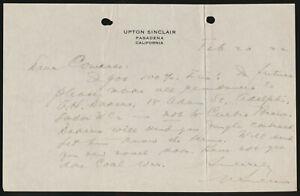 Upton Sinclair: Handgeschriebener Brief mit Unterschrift. (19)22.