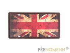 Plaque Métal Immatriculation Vintage - Drapeau Royaume Uni - Union Jack (15x30c
