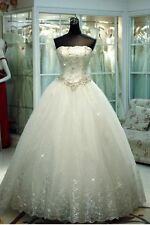 New White Ivory Appliques Wedding Dress Bridal Gown Custom Size 6-8-10-12-14-16+