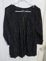 Women's Avenue Black & Gold Striped Crinkle Henley Blouse Shirt Plus Size 22/24