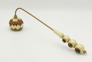 Vintage ENAMEL/ Brass.CANDLE SNUFFER w/ RHINESTONES Christmas Green Red Holiday