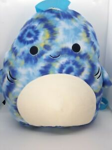 """SQUISHMALLOW BACKPACK ~ Luther the Tie Dye Shark 12"""" BACK TO SCHOOL   NEW w/tag"""