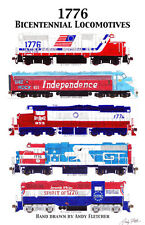 "Bicentennial Locomotives Poster #3  11""x17"" Poster by Andy Fletcher signed"