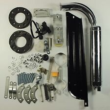 Black 80cc Bike 2 Stroke Gas Engine Motor Kit DIY Motorized Bicycle Chrome pipe