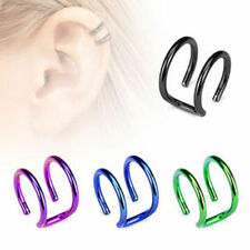 4 COLOR LOT OF IP SURGICAL STEEL CARTILAGE DOUBLE CLOSURE CLIP EAR CUFF RINGS