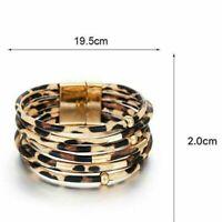 Damen Wickelarmband LederLook Leopard Armband Modeschmuck Wristband Mansche E3S7