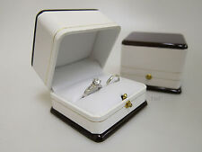 Bride & Groom Ring Box Large Luxury Wood & Leather Feel Double Wedding Bearer