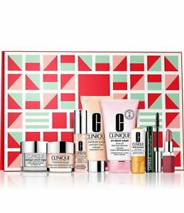 CLINIQUE Festive Favorites MERRY Holiday box make up  8pc Full Size In Box NEW