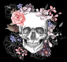 Color Bügeltransfer Bügelbild Applikation Skull Schädel Blumenranke 060