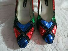 """Vintage Early 80's Ann Marino Multi Color Sequin & Beads 3"""" Heel Shoes Size 8 B"""