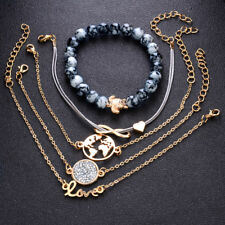 5pcs/set Gold Bracelet Love Heart Infinity Turtle/Tortoise Rope Bead Bangle Z