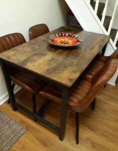 Wooden Industrial Dining Table Vintage Furniture Rustic Metal Kitchen Breakfast