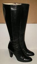 COLE HAAN Women's Italian Black Patent Leather Dress Knee-High Zipper Boots 7 B