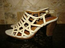"Indigo by Clarks Beige Leather Strappy Sandals 3"" Chunky Heel Womens Size 9 M"