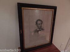 ANTIQUE WOOD FRAMED 1864 FB CARPENTER ABRAHAM LINCOLN ENGRAVING USA SALE ONLY