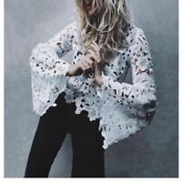 White Alba Portrait Floral Lace Blouse Top Free Self Delivery