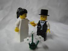 LEGO BRIDE & GROOM w/ BLACK PONYTAIL HAIR Wedding Minifig minifigure cake topper