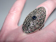 Vintage Sterling Silver~Marcasite~Hematite LONG Oval Cocktail Ring~Sz 7.25~6.6G