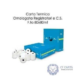 50 rotoli carta termica per registratori cassa 80x80x12 carta scontrini termica