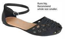 New Women Black Tan White FV83 Strappy Woven Mary Jane Flat Sandals 6 to 10