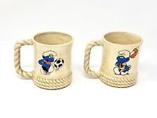 The Smurfs Vintage Coffee Mug Set - 1984 Cup Tea Baseball Basketball