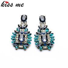 Trendy Jewelry Elegant Shiny Resin Stone Blue Plant Stud Earrings.